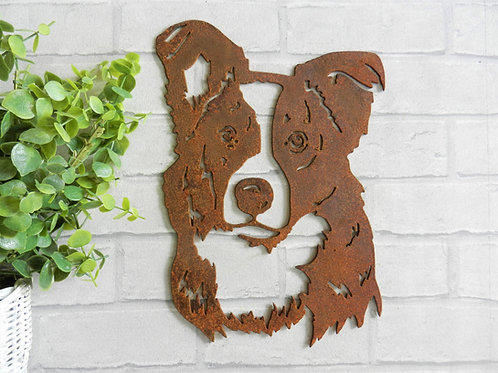 Rusty Metal Border Collie Head