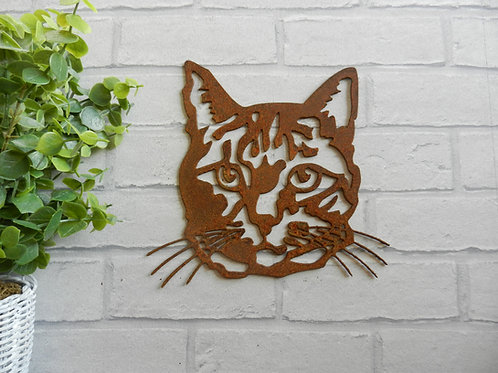 Rusty Metal Cat Face