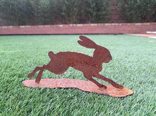 Mini Rusty Metal Running Hare on a base