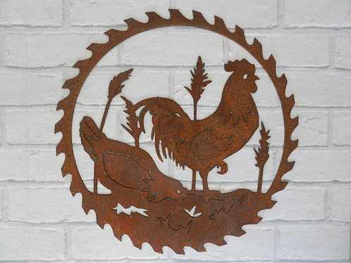 Rusty Metal Chicken Saw Blade Wall Art