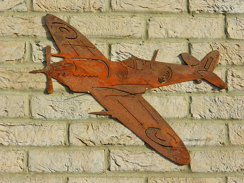RAF Spitfire WW2 plane Rusty Metal Wall Art