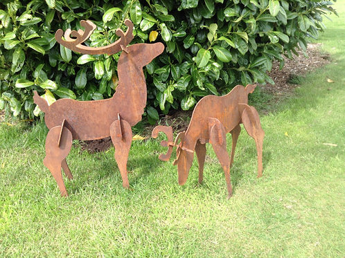 Rusty Metal 3D Deer Sculptures
