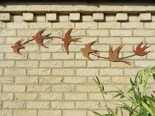 Rusty Metal Swallow Wall Art