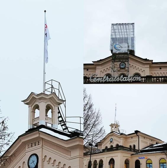 Renovering av flaggtornet på Södra station