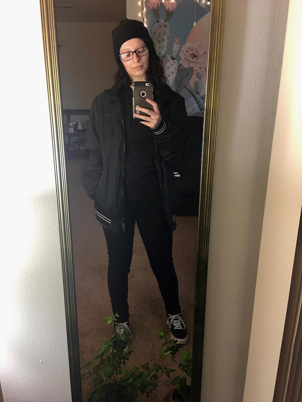 Same shirt, same jeans, same shoes, plus a beanie and my boyfriend's jacket