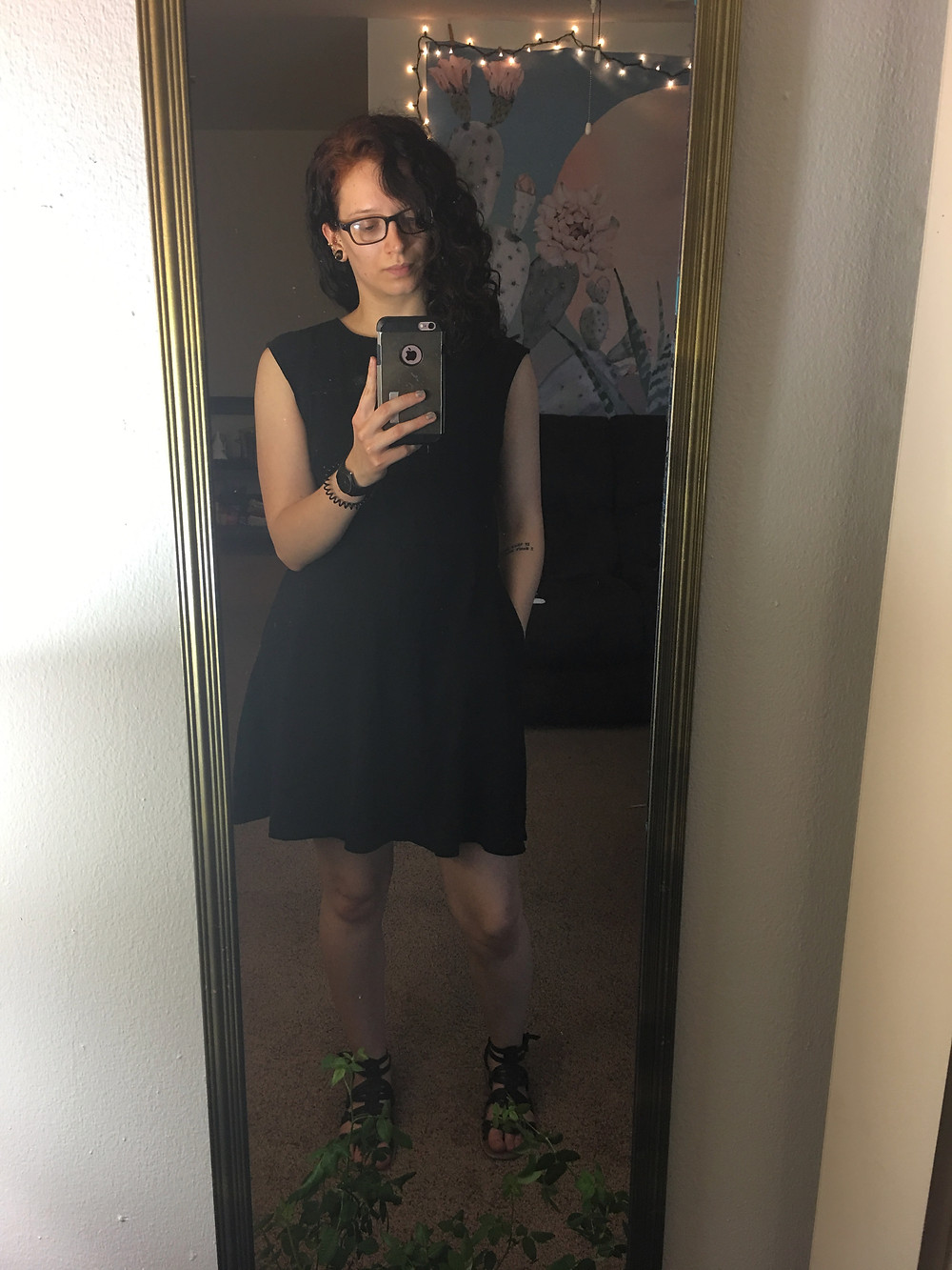 A plain black dress WITH POCKETS! From New York & Company, plus some black sandals