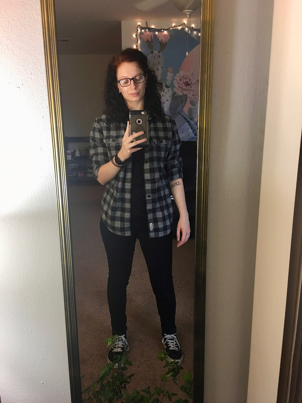 Same shirt, pants, and shoes, plus a black and grey plaid flannel from the men's section of American Eagle