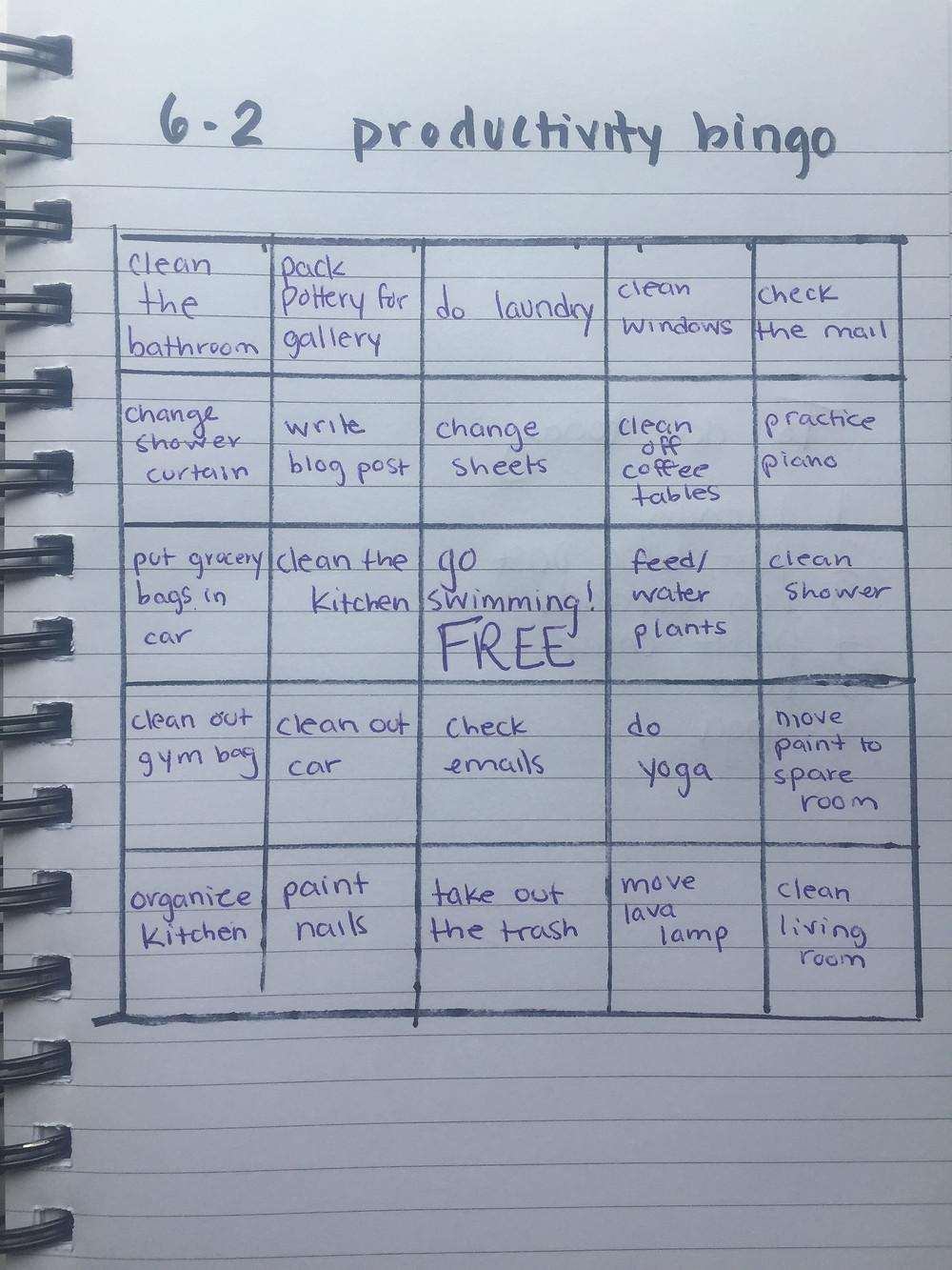 A productivity bingo board