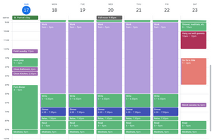 Fully time-blocked calendar
