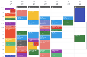 A busy, calendar blocked week