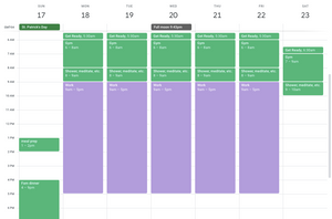 Calendar with work and gym scheduled