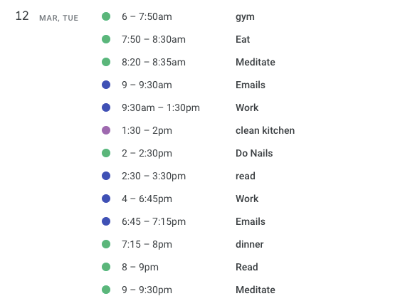 A google schedule of my day