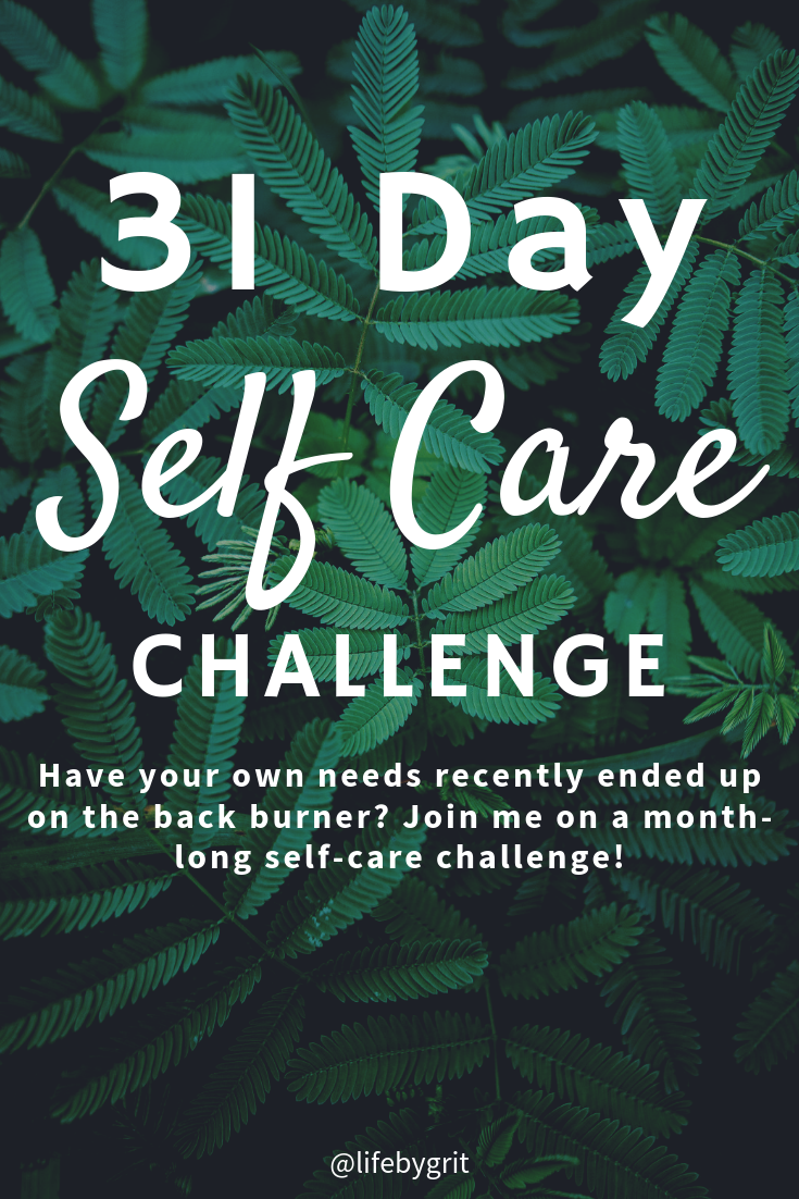 31 Day self care challenge—Have your own needs recently ended up on the back burner? Join me on a month-long self-care challenge!