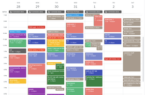 This is a picture of my actual schedule for a week in school. See those light purplish-blue boxes? Those are classes that I scheduled in ahead of time.