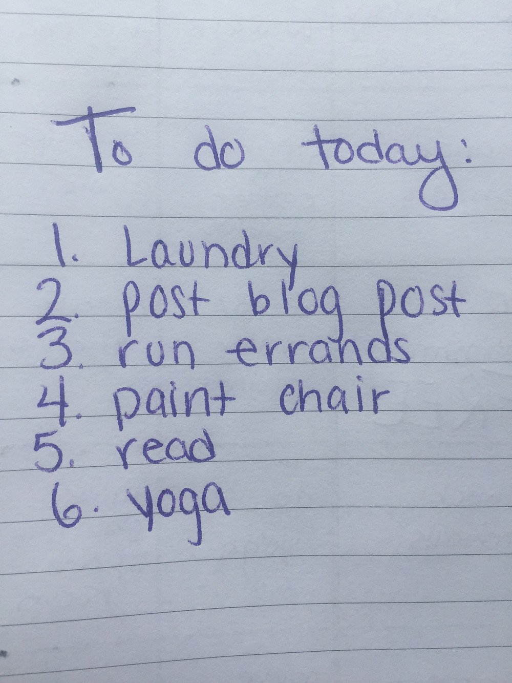 A to do list of 6 items