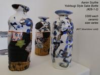 Aaron Scythe - Yobitsugi Style Sake Bottle (#26-2 left) (#26-1 middle) $300 each