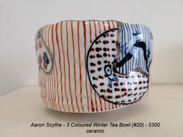 Aaron Scythe - 3 Coloured Winter Tea Bowl (#20) - $300