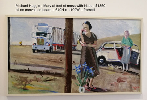 Michael Haggie - Mary at foot of cross with irises - $1350