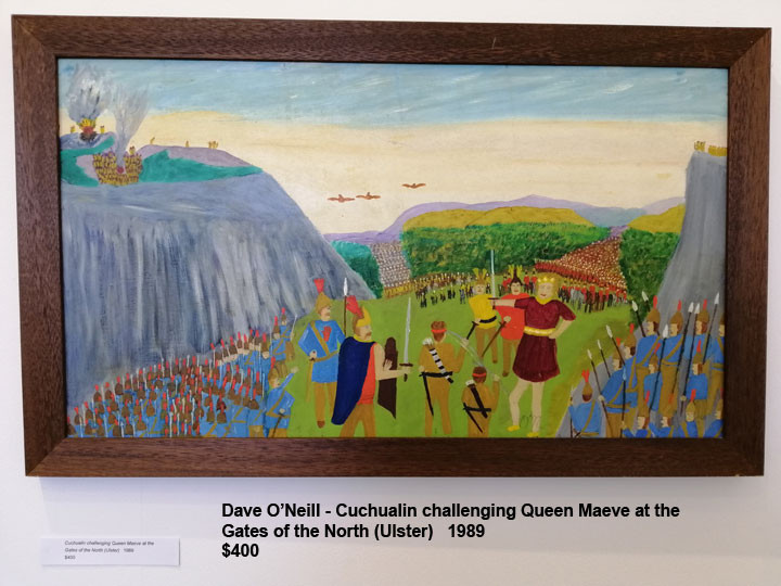 Dave O'Neill - Cuchualin challenging Queen Maeve at the Gates of the North (Ulster)   1989   $400