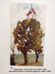 Craig Collier - Trees with Church Bell   $300
