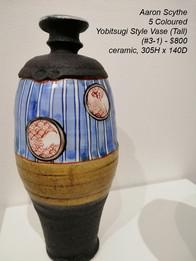 Aaron Scythe - 5 Coloured Yobitsugi Style Vase (Tall) (#3-1) - $800