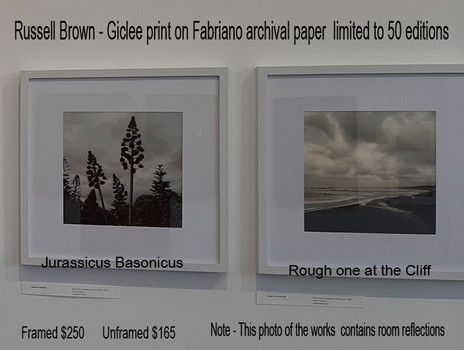Russell Brown - Jurassicus Basonicus     Rough one at the Cliff    Framed $250  Unframed $165