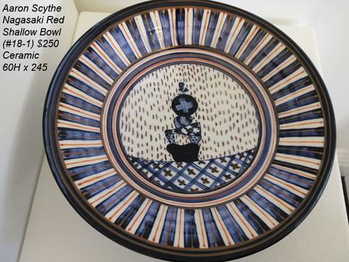 Aaron Scythe - Nagasaki Red Shallow Bowl (#18-1) $250
