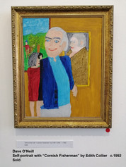 """Dave O'Neill - Self-portrait with """"Cornish Fisherman"""" by Edith Collier   c.1992  Sold"""