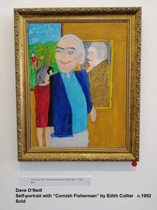 "Dave O'Neill - Self-portrait with ""Cornish Fisherman"" by Edith Collier   c.1992  Sold"