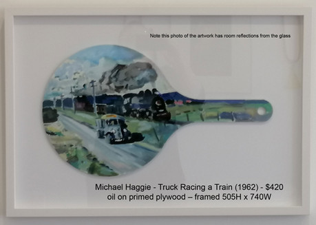 Michael Haggie - Truck Racing a Train (1962) - $420
