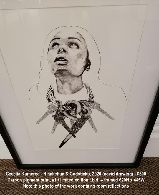 Cecelia Kumeroa - Hinakehua & Godsticks, 2020 (covid drawing) - $500