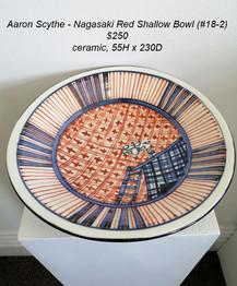 Aaron Scythe - Nagasaki Red Shallow Bowl (#18-2) - $250