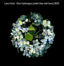 Lynn Hurst - Blue Hydrangea (under blue with bees) $650