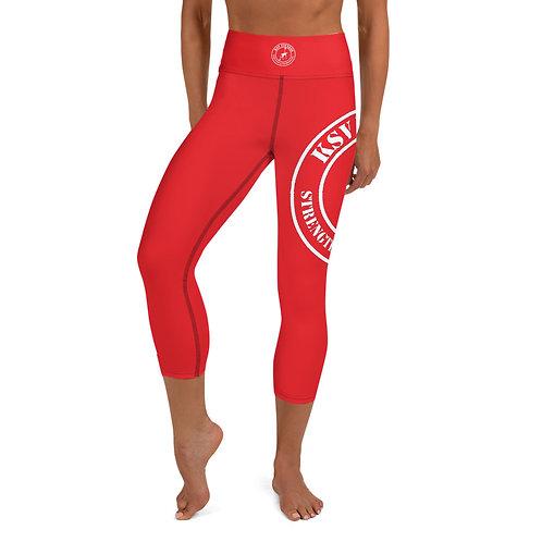KSV Capri Leggings Red & White