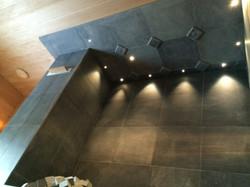 Потолок над печью с подсветкой