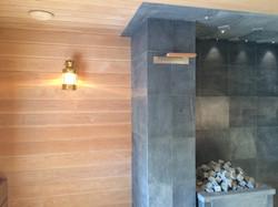 Дымоход в бане и эксклюзивная лампа
