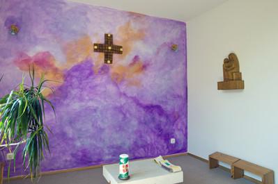 """Wandgestaltung im """"Raum der Stille"""", Stiftung Projekt Omnibus, München. Schenkung der Künstlerin."""