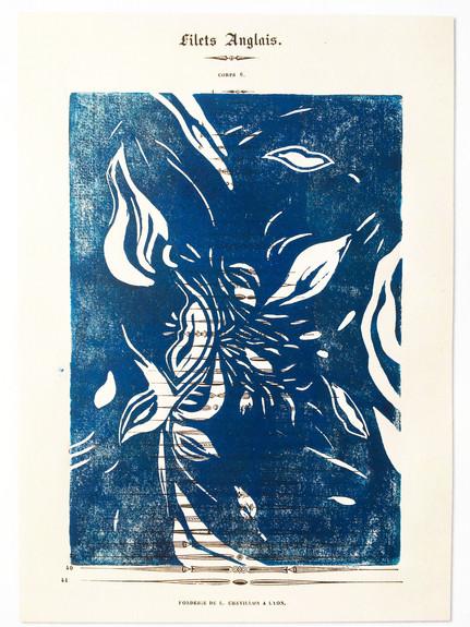 Filets Anglais: leaf, flame, lips – blue