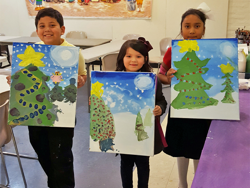 kids christmas paint night party