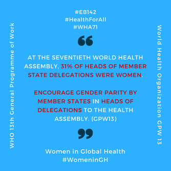 Women in Global Health at the 142nd WHO Executive Board meeting, January 2018