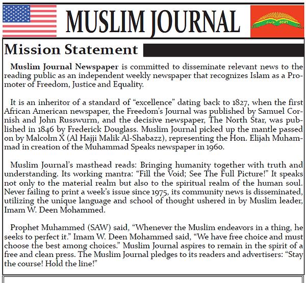 Muslim Journal Website Mission Statement