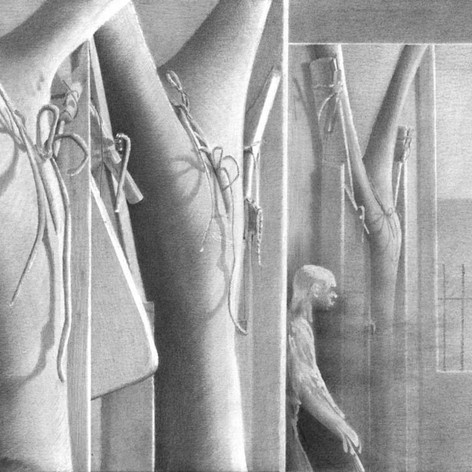 Hotel Edward Hopper Facade, Mark West  2005, graphite on paper, 29 x 36 cm  Photo credit: UQAM Centre de design