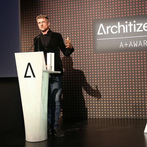 Carlo Ratti of Carlo Ratti Associati accepts his A+Firm Award Photo credit: Jenna Bascom