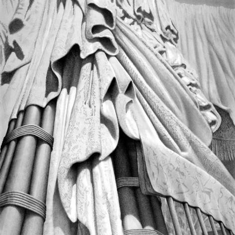 Dianna's Robes, Mark West  1996, graphite on paper, 100 x 76 cm  Photo credit: UQAM Centre de design
