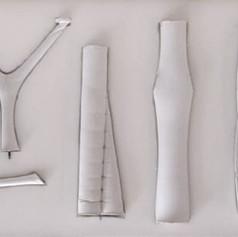 Plaster cast, Mark West  Studies of branching columns plaster casts  Photo credit: UQAM Centre de design