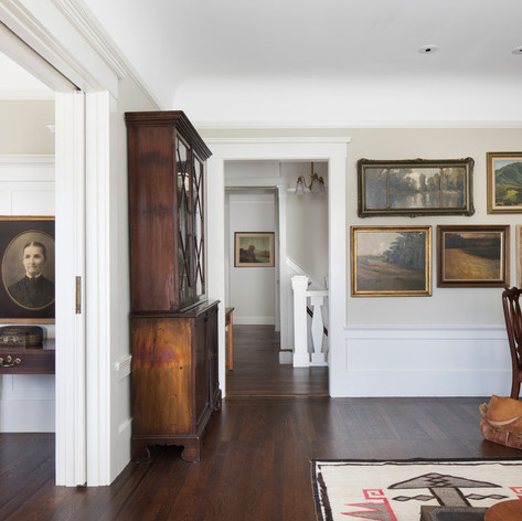 Modern Craftsman: Clean lines, simple details and a consistent vocabulary of materials were used to create a backdrop for artwork and display spaces for objects.  Photo credit: Paul Dyer Photography