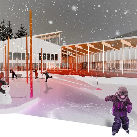 Rimouski - Winter outdoor perspective Photo credit: L'ŒUF et Lapointe Magne et Associés