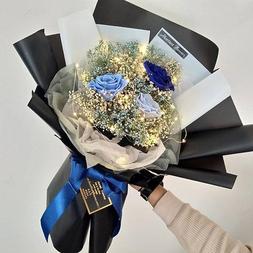 Blue Roses + Babysbreath Bouquet