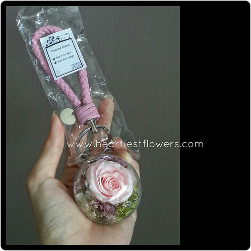 Light Pink Rose Keychain