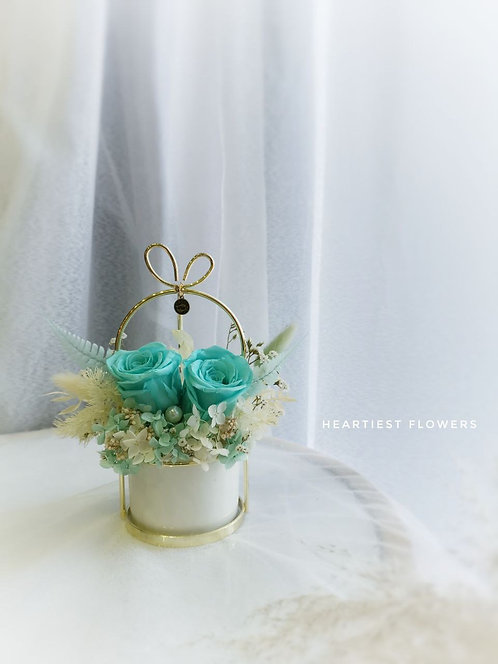 Pisces Special  - Preserved Turquoise Rose Gold Handed Pot